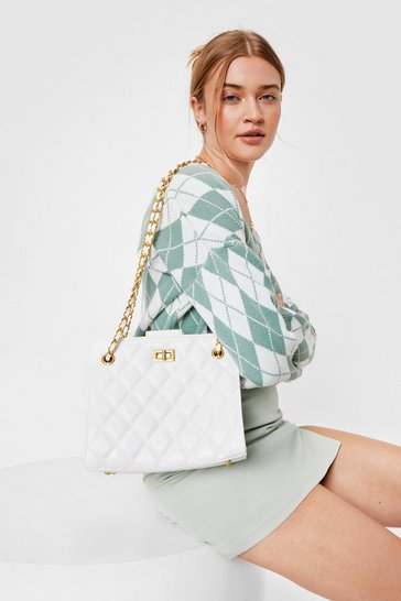 White WANT Quilt Givin' Excuses Chain Shoulder Bag