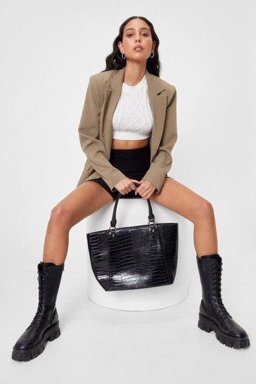 Black WANT Croc Off Faux Leather Tote Bag
