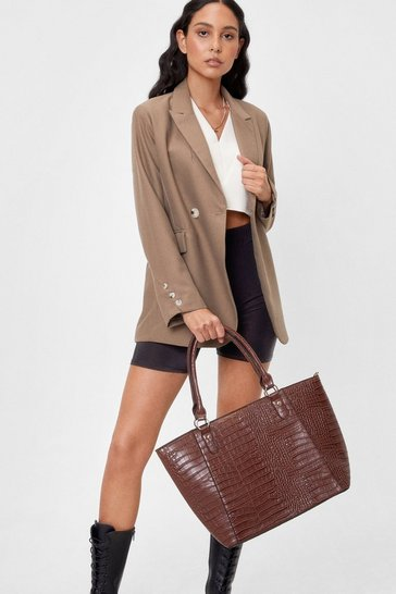 Tan WANT Croc Off Faux Leather Tote Bag