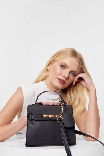 Black WANT Faux Leather Flap Top Crossbody Bag