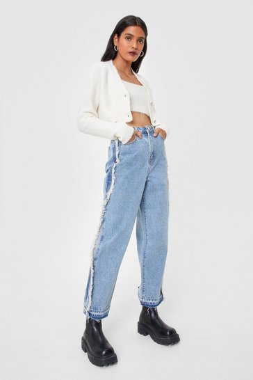 Light blue Frayed Seam Detail Straight Leg Jeans