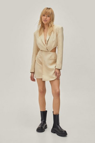Sand Twisted Cut Out Mini Blazer Dress