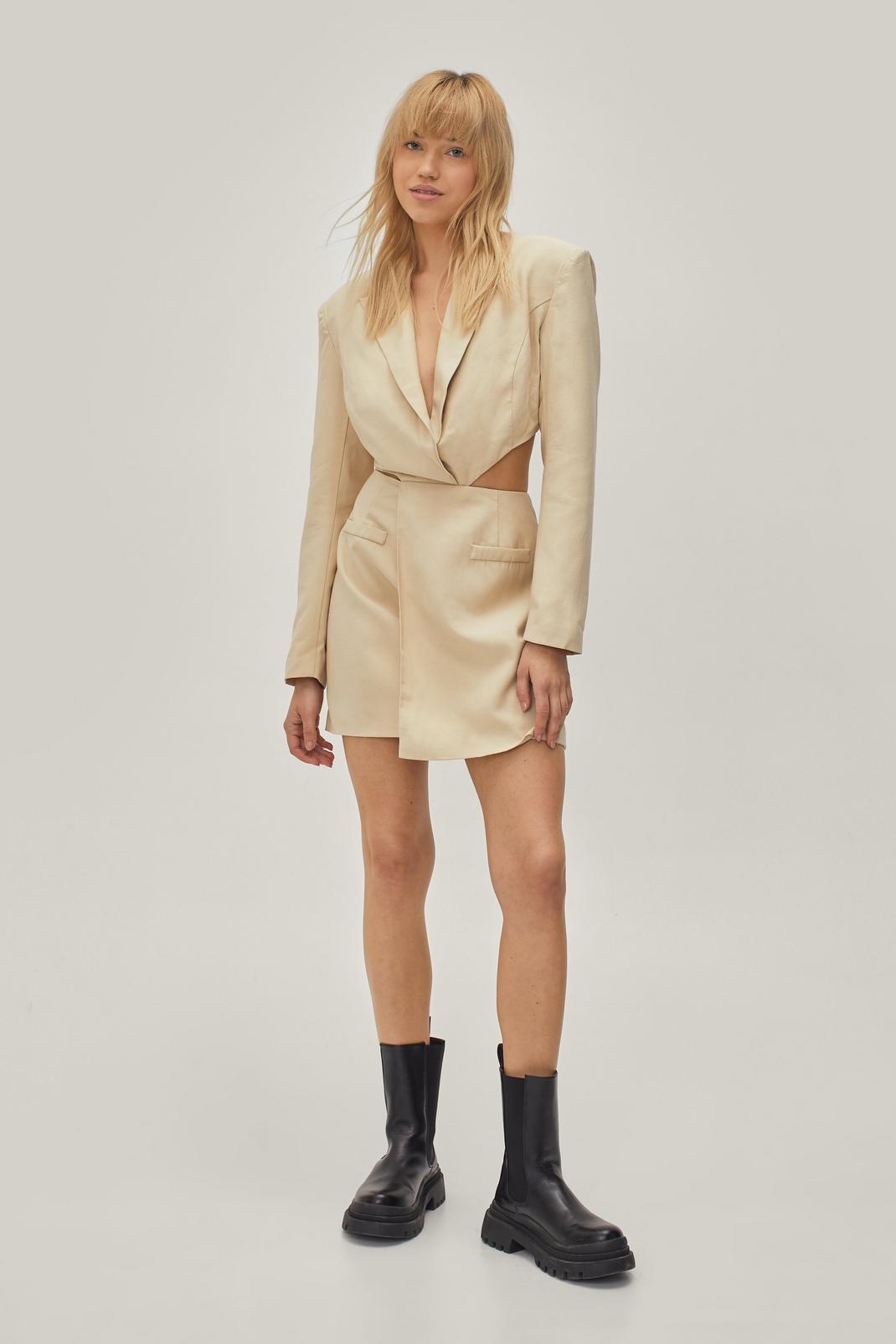 Twisted Cut Out Mini Blazer Dress   NastyGal