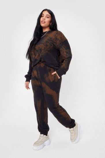 Brown Plus Size Tie Dye Sweatpants
