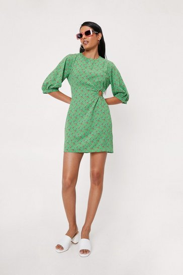 Apple green Floral Print Cut Out Puff Sleeve Mini Dress
