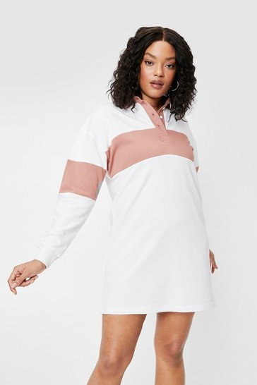 White Plus Size Two Tone Sweatshirt Mini Dress
