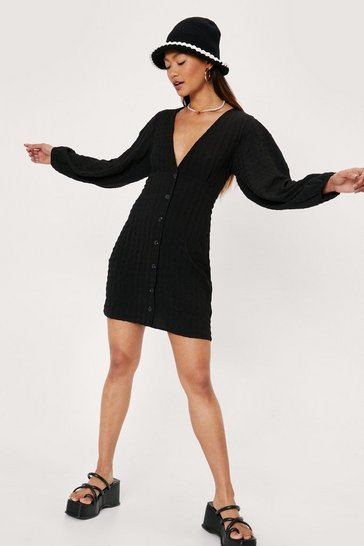 Black Petite V Neck Button Down Mini Dress