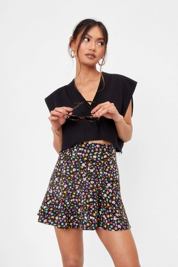 Black Grow Matter What Petite Floral Skirt
