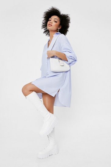 Blue Petite Striped Puff Sleeve Shirt Dress