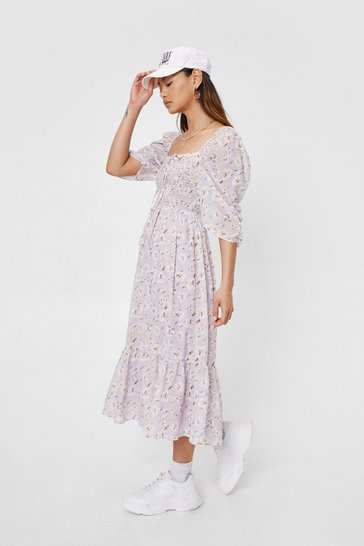 Lilac Petite Floral Print Shirred Midi Dress