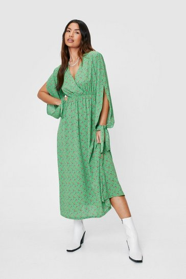 Apple green Floral Print Long Tie Sleeve Midi Dress
