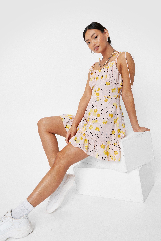 Petite Floral Spotty Print Tie Mini Dress