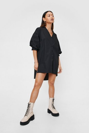 Black Petite Puff Sleeve Mini Shirt Dress