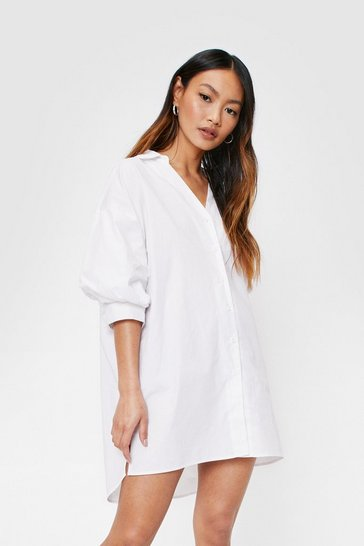 White Petite Puff Sleeve Mini Shirt Dress