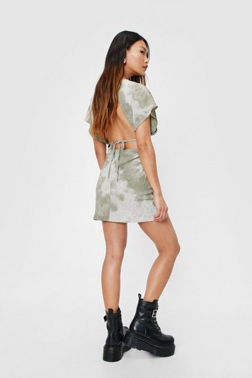 Petite Open Back Tie Dye Print Mini Dress, Sage