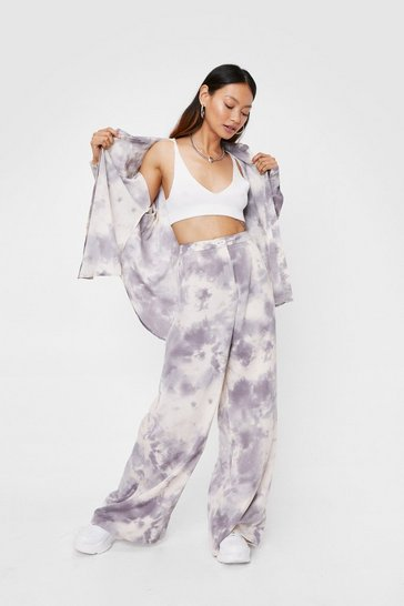 Purple Petite Tie Dye Print Wide Leg Pants
