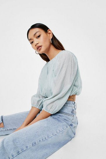 Sage Petite Puff Sleeve Cropped Blouse