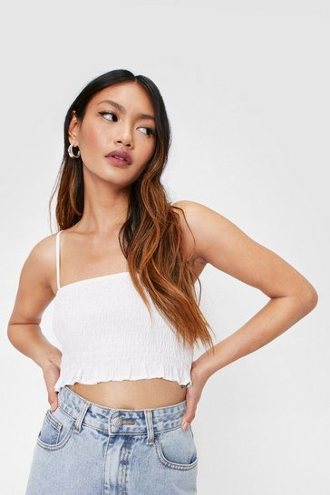 White Petite Shirred Strappy Cami Crop Top