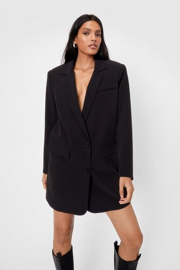Black Oversized Single Breast Blazer Dress