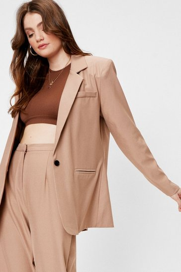 Camel Oversized Single Breasted Shoulder Padded Blazer