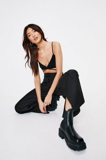 Black Seam Front Split Hem Wide Leg Pants