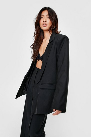 Black Shoulder Padded Oversized Double Breasted Blazer