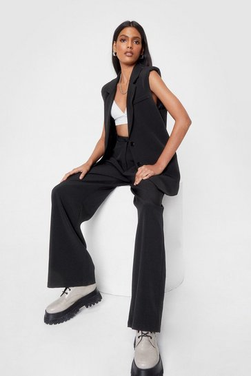 Black Set the Agenda Tailored Wide-Leg Pants