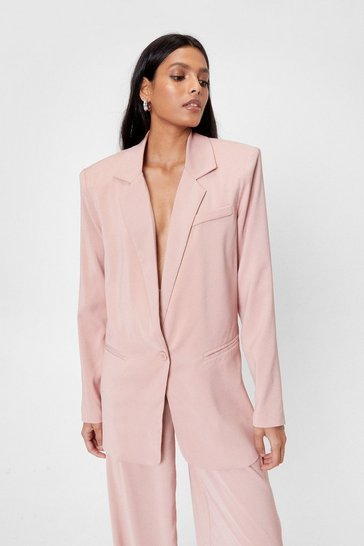 Pink Shoulder Pad Oversized Blazer