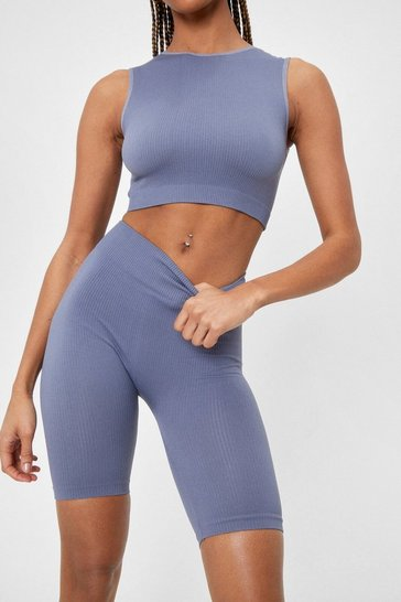 Grey Ribbed Seamless Crop Top and Biker Shorts Set