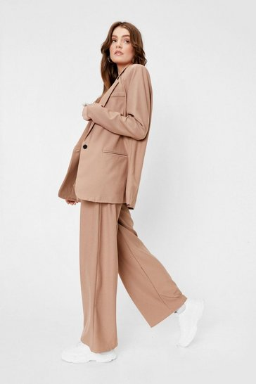 Camel High Waisted Wide Leg Tailored Pants