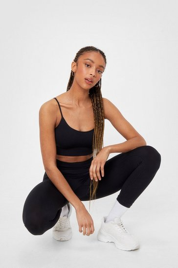 Black Ribbed Seamless Crop Top and Leggings Set