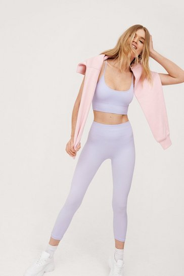 Lilac Ribbed Seamless Crop Top and Leggings Set