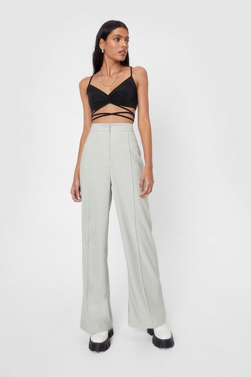 Mint Seam Front Split Side Wide Leg Trouser