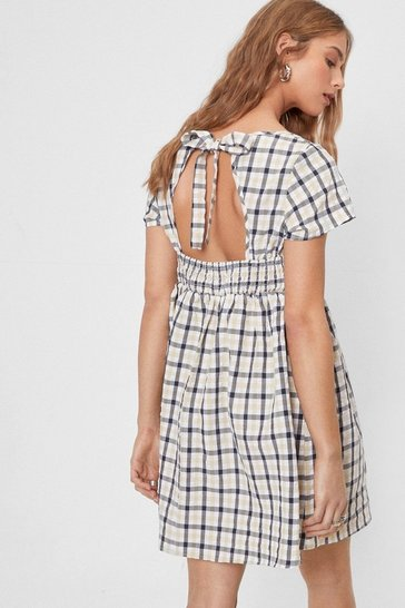 Natural beige Check Tie Back Square Neck Mini Dress