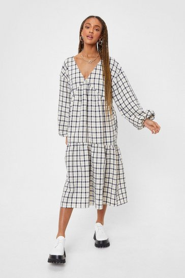 Natural beige Long Sleeve Check Print Midi Smock Dress
