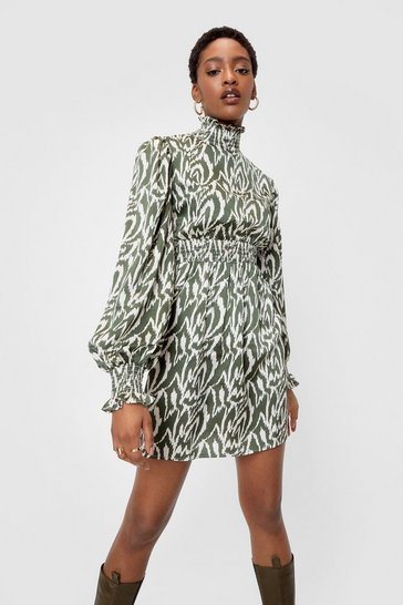 Green olive High Neck Zebra Smock Mini Dress
