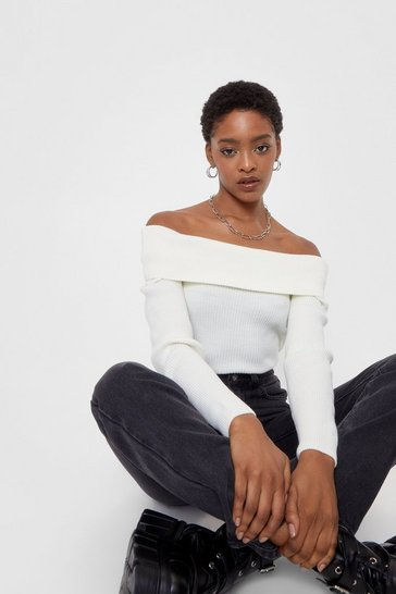 White Keep Your Hands Off-the-Shoulder Knit Top