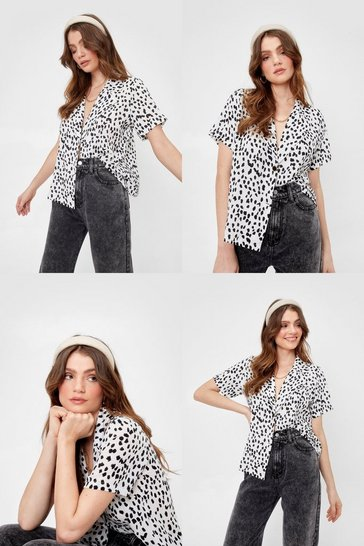 White Dalmatian Oversized Short Sleeve Shirt
