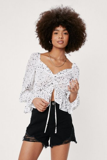 White Ruched Tie Front Star Print Blouse