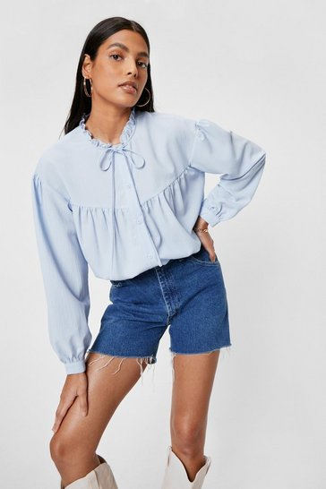 Blue Chiffon High Neck Ruffle Blouse