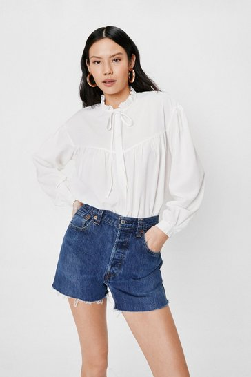 Off white Chiffon High Neck Ruffle Blouse