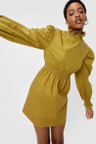 Olive Shirred High Neck Puff Sleeve Mini Dress
