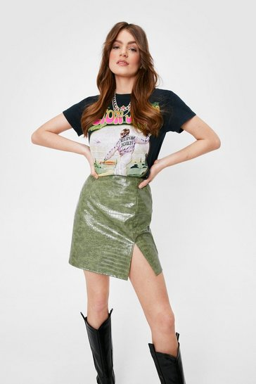 Khaki The Vinyl Straw Croc High-Waisted Mini Skirt