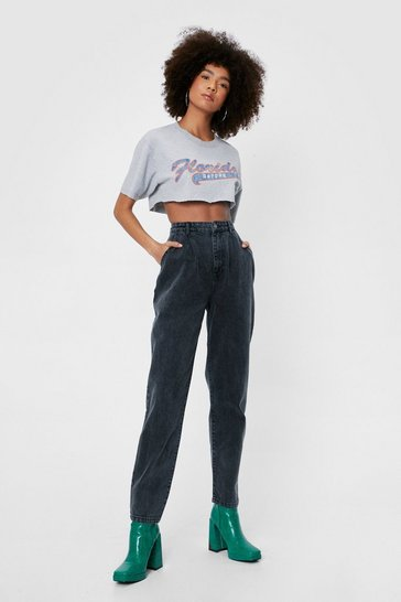 Washed black Nasty Gal Graphic Acid Wash Mom Jeans