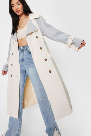 Blue Colorblock Double Breasted Belted Trench Coat