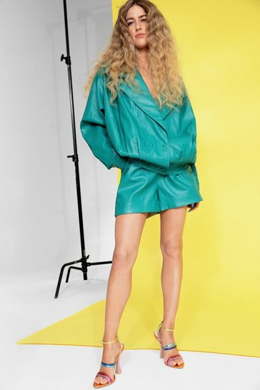 Green High Waisted Faux Leather Longline Shorts