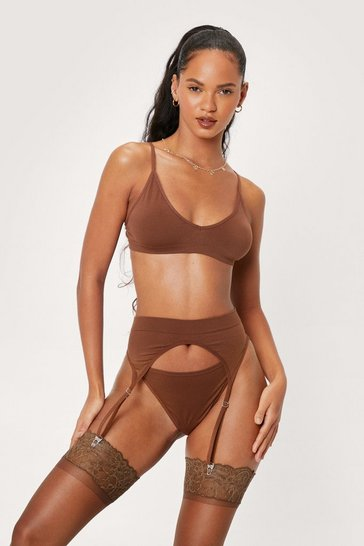 Chestnut Seamless 3 Pc Lingerie and Suspender Set