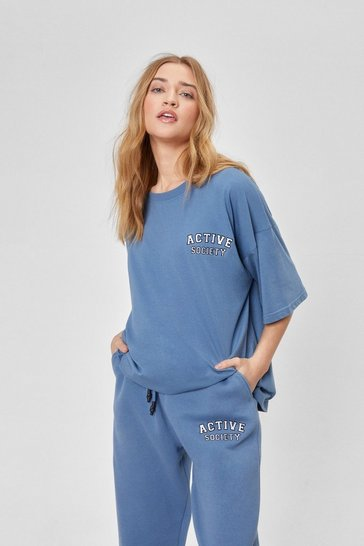 Blue Active Society Oversized Embroidered Tee