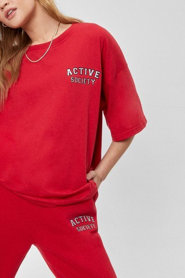 Red Active Society Oversized Embroidered Tee