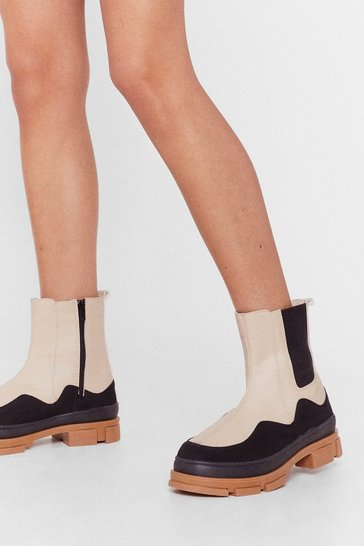 Beige Kick 'Em Out Two-Tone Wellie Ankle Boots